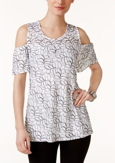 Alfani Petite Lace Cold-Shoulder Top, Created for Macy's
