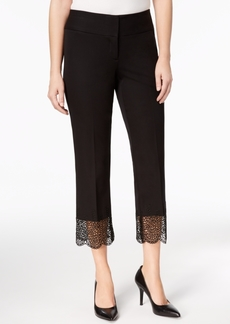 Alfani Petite Lace-Hem Ankle Pants, Created for Macy's