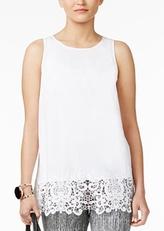 Alfani Petite Lace-Hem Top, Created for Macy's