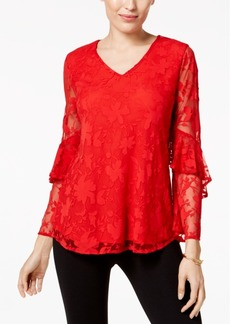 Alfani Petite Lace Ruffled-Sleeve Top, Created for Macy's