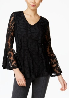 Alfani Petite Lantern-Sleeve Burnout Top, Only at Macy's