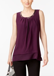 Alfani Petite Layered-Look Chain-Neck Top, Created for Macy's