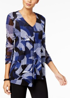 Alfani Petite Mesh Draped V-Neck Top, Created for Macy's