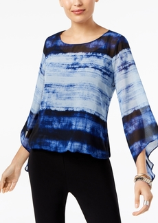 Alfani Petite Mixed-Print Bubble-Hem Blouse, Created for Macy's