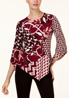 Alfani Petite Mixed-Print Pointed-Hem Top, Created for Macy's