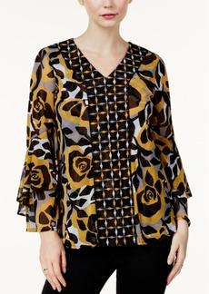 Alfani Petite Mixed-Print Ruffle-Sleeve Top, Created for Macy's