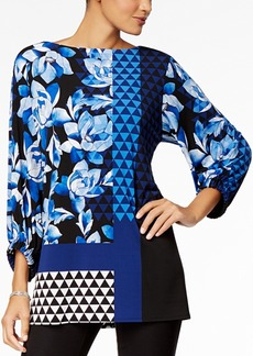 Alfani Petite Mixed-Print Tunic, Created for Macy's