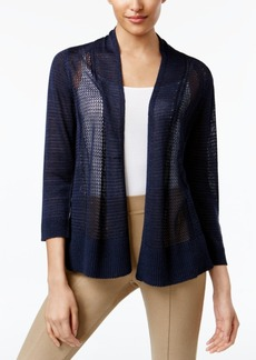 Alfani Petite Mixed-Stitch Open-Front Cardigan, Only at Macy's