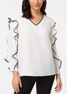 Alfani Petite Pipe-Trim Ruffle-Sleeve Top, Created for Macy's