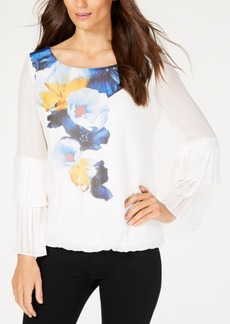 Alfani Printed Tiered-Sleeve Bubble Top, Created for Macy's