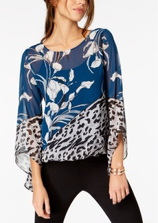 Alfani Petite Angel-Sleeve Blouson Top, Created for Macy's