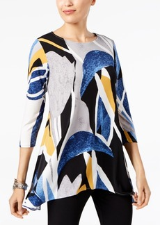 Alfani Petite Printed Asymmetrical-Hem Tunic, Created for Macy's