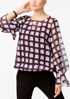 Alfani Petite Printed Bubble-Hem Top, Created for Macy's