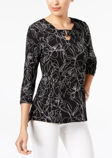 Alfani Petite Printed Buckle-Detail Tunic, Created for Macy's