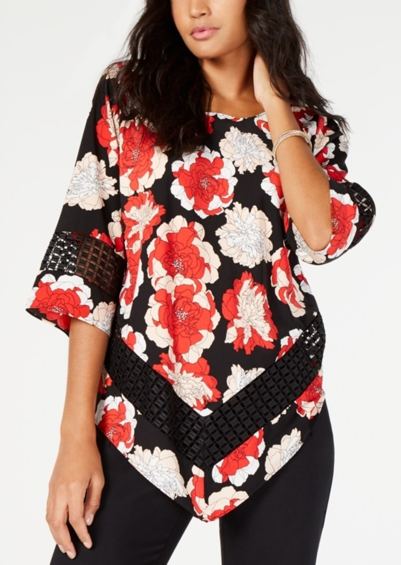 Alfani Printed Crochet-Trim V-Hem Top, Created For Macy's