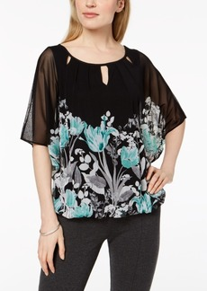 Alfani Petite Printed Cutout-Neck Bubble Top, Created for Macy's