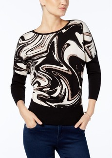 Alfani Petite Printed Dolman-Sleeve Sweater, Created for Macy's