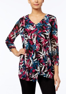 Alfani Petite Printed Drape-Front Top, Created for Macy's