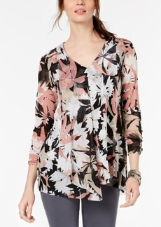 Alfani Petite Printed Draped 3/4-Sleeve Top, Created for Macy's