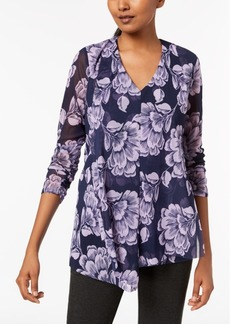 Alfani Petite Printed Draped-Front Top, Created for Macy's