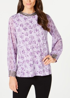 Alfani Metallic-Print Beaded Top, Created for Macy's