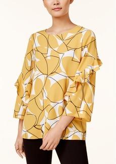 Alfani Petite Printed Flounce-Sleeve Top, Created for Macy's