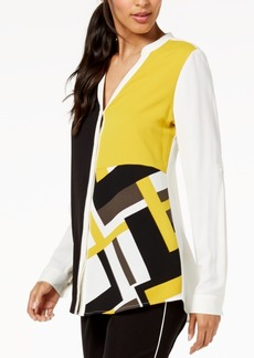 Alfani Petite Colorblocked Cuffed-Sleeve Blouse, Created for Macy's