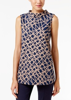 Alfani Petite Printed Funnel-Neck Top, Only at Macy's
