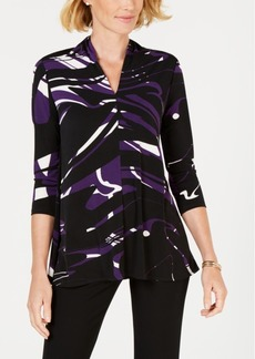 Alfani Printed High V-Neck Top, Created for Macy's