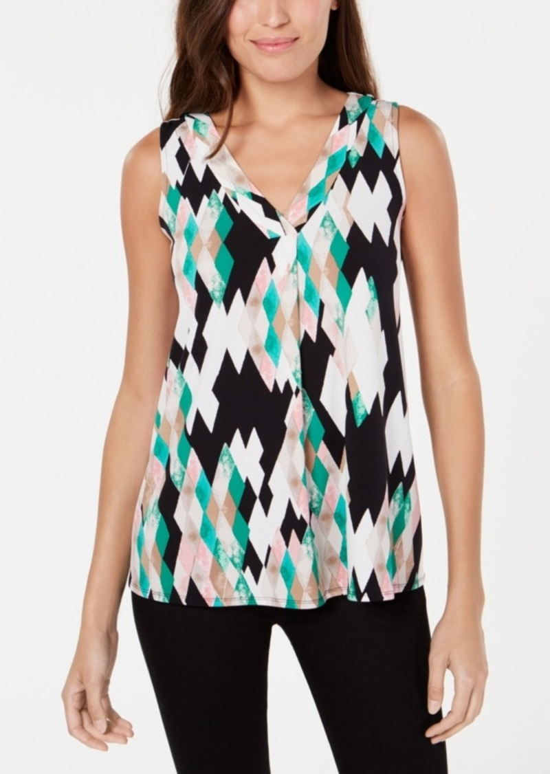 Alfani Petite Printed Knit Swing Top, Created for Macy's