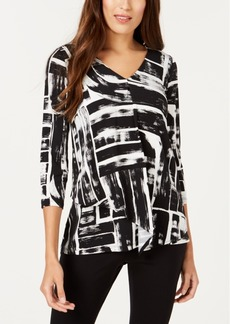 Alfani Printed Layered-Hem Top, Created for Macy's