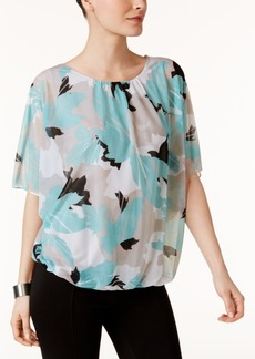 Alfani Petite Printed Mesh Bubble Top, Created for Macy's