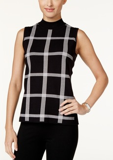 Alfani Petite Printed Mock-Neck Sweater, Only at Macy's