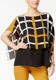 Alfani Petite Printed-Overlay Colorblocked Top, Created for Macy's