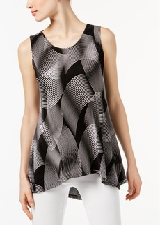 Alfani Petite Printed Pleated High-Low Top, Created for Macy's