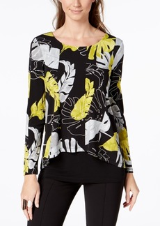 Alfani Petite Printed Popover Top, Created for Macy's
