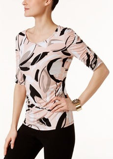Alfani Petite Printed Ruched-Sleeve Top, Created for Macy's