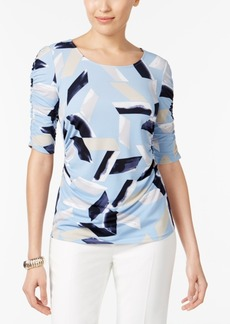 Alfani Petite Printed Ruched Top, Created for Macy's