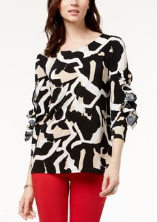 Alfani Petite Printed Ruffle-Sleeve Tunic, Created for Macy's
