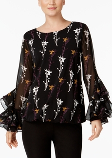Alfani Petite Printed Ruffled-Cuff Top, Created for Macy's
