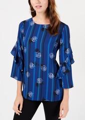 Alfani Petite Printed Ruffled-Sleeve Zip-Back Top, Created for Macy's