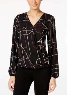 Alfani Petite Printed Surplice Blouse, Only at Macy's