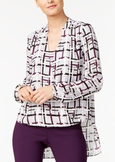 Alfani Petite Printed Surplice Top, Created for Macy's
