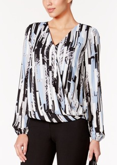Alfani Petite Printed Surplice Top, Only at Macy's