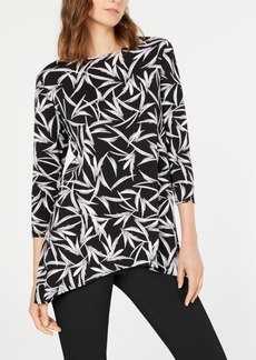 Alfani Printed Handkerchief-Hem Swing Top, Created for Macy's