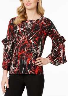 Alfani Petite Printed Tie-Sleeve Top, Created for Macy's