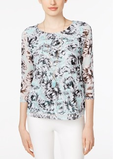 Alfani Petite Printed Tiered Mesh Top, Created for Macy's