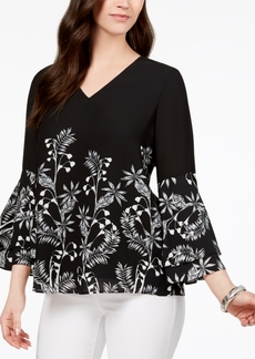 Alfani Petite Printed Tiered-Sleeve Top, Created for Macy's