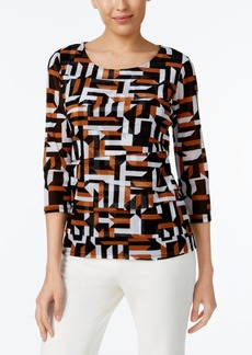 Alfani Petite Printed Tiered Top, Created for Macy's