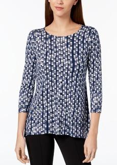 Alfani Petite Printed Woven-Back Top, Created for Macy's